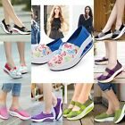 Women Casual Canvas Sneaker Breathable Running Platform Slip-on Shoes Wedge Heel