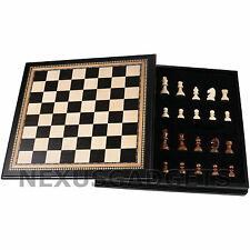 Chess 18 INCH LARGE Board Game Set BLACK Wood Wooden Inlaid Lift Up Pieces Tray