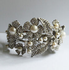 Butler and Wilson Crystal Pearl Flower Cuff Bracelet Bangle Wedding NEW RRP £98