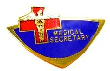 Medical Secretary Lapel Pin Blue Red Cross Hospital Office Emblem Pins 948 New