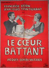 Affiche LE COEUR BATTANT Doniol-Valcroze FRANCOISE BRION Trintignant 60x80cm