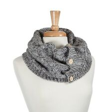 NEW Cable Knit Tube Scarf Light and Dark Grey with Buttons