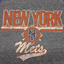 New York Mets Gray Blue Sleeve 3/4 Length Jersey Style T-Shirt Baseball MLB