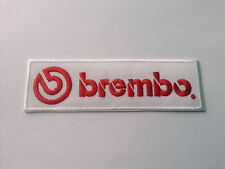 MOTOR RACING RALLY SPORT FUELS OILS SEW / IRON ON PATCH:- BREMBO (a) STRIPE