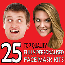 25 Personalised Face Masks Custom Made to order Photo Card Cheap Self Cut kit