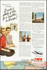 1953-TWA Trans World Airlines`Europe`Map/Couple Airplane-Vintage Ad