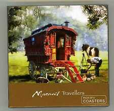 GYPSY/TRAVELLERS LEDGE TYPE CARAVAN WITH HORSES - COASTERS - PACK OF 4