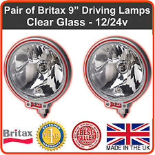 """Pair of Britax 9"""" driving spot lamps/lights clear lens 12/24v off road 4x4 truck"""