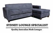 Brand New - AUS MADE Mossvale 3 seater Chaise (Black Suede) Couch Lounge Modular