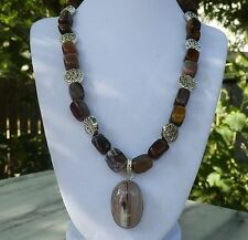 """19"""" Handmade Tiger's Eye Nugget Necklace with Botswana Agate Pendant"""