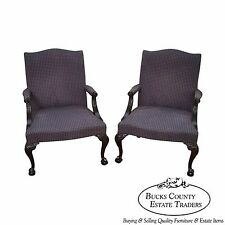 Hickory Chair Pair of Mahogany Chippendale Style Library Arm Chairs