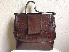 WALDMAN Vintage Real Brown Alligator Brass Hardware Handbag Bag