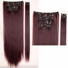 10% Human Hair Thick Clip In Hair Extensions Straight Full Head Hair Extentions