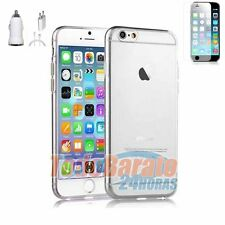 Funda gel TPU 100 % TRANSPARENTE + protector + cargador 3EN1 IPHONE 6 4.7""