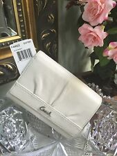 Coach Wallet Soho Pleated  Leather Compact Clutch White/Bark F44622 New W11