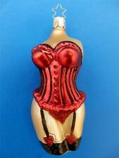 INGE GLAS RED CORSETT KORSETT GERMAN BLOWN GLASS CHRISTMAS TREE ORNAMENT