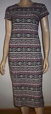 SELECT Black Multi Colour Geometric Print Short Sleeve Summer Midi Dress Size 12