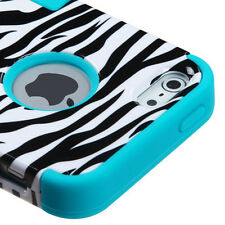 For Apple iPhone 5 Rubber IMPACT TUFF HYBRID Case Skin Phone Cover Zebra Teal
