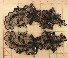 "4 amazing beaded sequins black applique pairs embroidered 2 flower design 11""x3"""