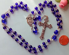 Cobalt Blue Glass Traditional Catholic Rosary Handmade Religious Gift