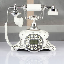 White Push Button Cord Telephone Vintage Retro Home&Desk Phone-New Reproduction