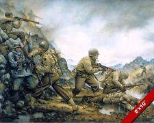 WWII US VS GERMAN ARMY SOLDIERS PANTANO ITALY PAINTING HISTORY ART CANVAS PRINT