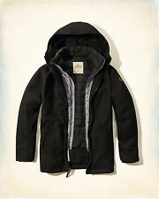 Hollister Men's Layered Wool Parka Jacket Outerwear Sz  M Black
