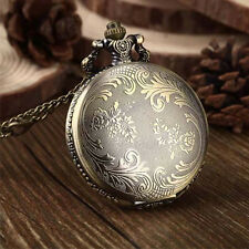 Antique Unisex Retro Bronze Quartz Pendant Chain Necklace Figure Pocket Watch