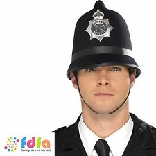 BLACK FELT TRADITIONAL POLICE MAN HAT HELMET mens fancy dress costume accessory