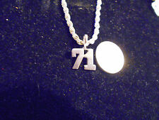 bling silver plated sport didget number 71 pendant charm chain hip hop necklace