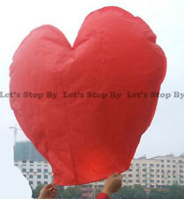 8x RED HEART Kongming Sky Flying Wishing Lantern Chinese Paper Candle Wedding