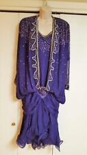 *LILLIE RUBIN* Purple 100% Silk Sequins Beaded Dance Evening Formal Dress,S 6-10