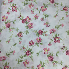 LAURA ASHLEY Full-Size Sheet Set, Flat, Fitted, 2 Pillowcases, Soft Pink Floral