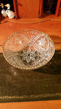 VINTAGE LARGE CLEAR PRESSED GLASS FRUIT or BONBON BOWL or TRIFLE DISH  9""