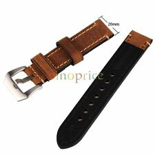 20mm Brown Genuine Leather Watchband Wristwatch Watch Band Stainless Buckle