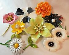 Vintage Enamel Flower Lot of 8 Brooch/Earrings Mod Flower Power Lucite Retro WOW