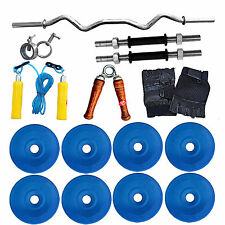 Fitfly Branded 30 kg PVC Plate Weight (Blue) +3ft Curl Rod+Dumbbell Rod+Skipping
