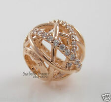 GALAXY 100% Authentic PANDORA Rose GOLD Plated CLEAR CZ Charm/Bead NEW