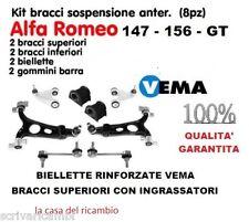 KIT BRACCI SOSPENSIONI ALFA ROMEO 147 156 GT VEMA CON INGRASSATORI E RINFORZATE