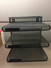 3 Tray Mesh Desk Office File Document Paper Holder Organizer