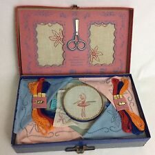Gold Medal Embroidery Outfit 1950 Ballet Girl Cloth Napkin Set Transogram