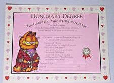 vintage garfield HONORARY DEGREE   THE GARFIELD FAMOUS LOVER'S SCHOOL