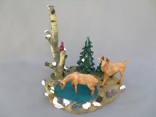 CHRISTMAS VILLAGE TWO DEER FIGURES WITH POND BIRCH AND BIRD MADE OF RESIN