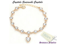 Made with Swarovski Heart White Crystal 18K Gold Plated Bracelet with New Tag