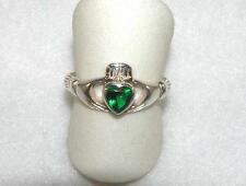 Green Crystal Heart Celtic Irish Claddagh Ring Sterling Silver Size 9