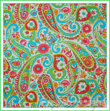 BonEful Fabric FQ Cotton Quilt White Pink Blue Paganelli PAISLEY S FLOWER Calico