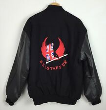 BLACK MOTORCYCLE BIKER RACING VINTAGE RETRO VARSITY LEATHER JACKET COAT XL