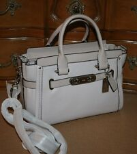 NWT $450 COACH Swagger 27 Satchel Handbag Pebbled Leather SV / Grey Birch 34816