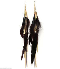Feather Shoulder Duster Chains Brown Gold Tone Beaded feathered Earrings 9""
