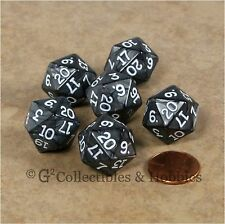 NEW Set of 6 Pearlized Charcoal Black D20 Dice RPG D&D Gaming Twenty Sided Die
